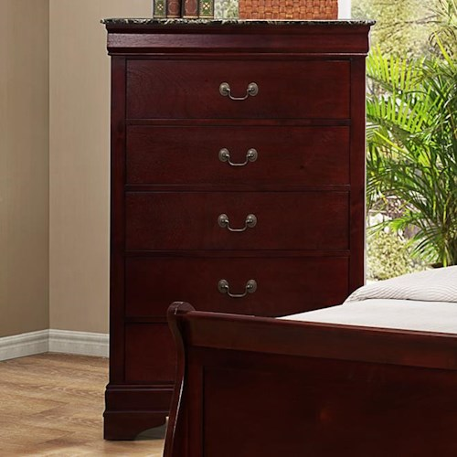 Crown Mark Louis Phillipe Traditional Chest with Faux Marble Top
