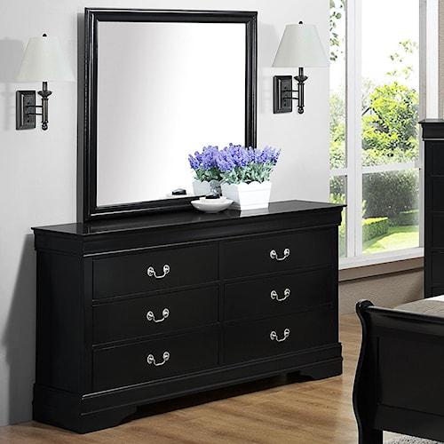 Crown Mark Louis Phillipe 6 Drawer Dresser & Mirror Set