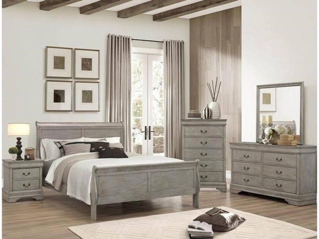 Crown Mark Louis PhilippeFull Panel Bed Package