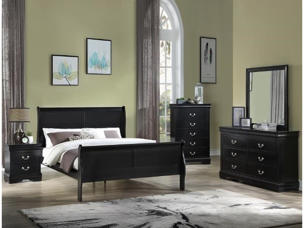 Crown Mark Louis PhilippeTwin Panel Bed Package
