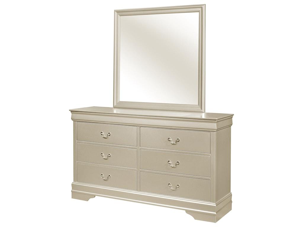 Crown Mark Louis Philip6 Drawer Dresser with Mirror