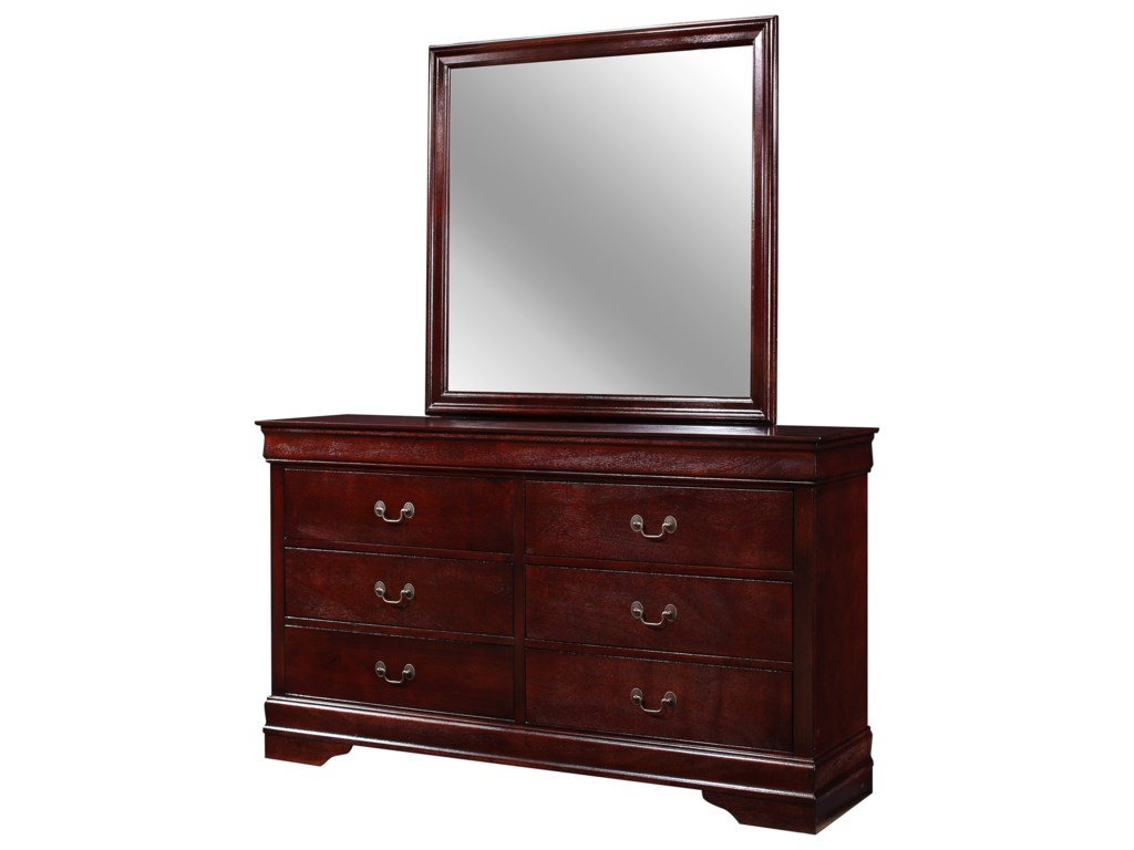Crown Mark Louis Philip6 Drawer Dresser with Mirror