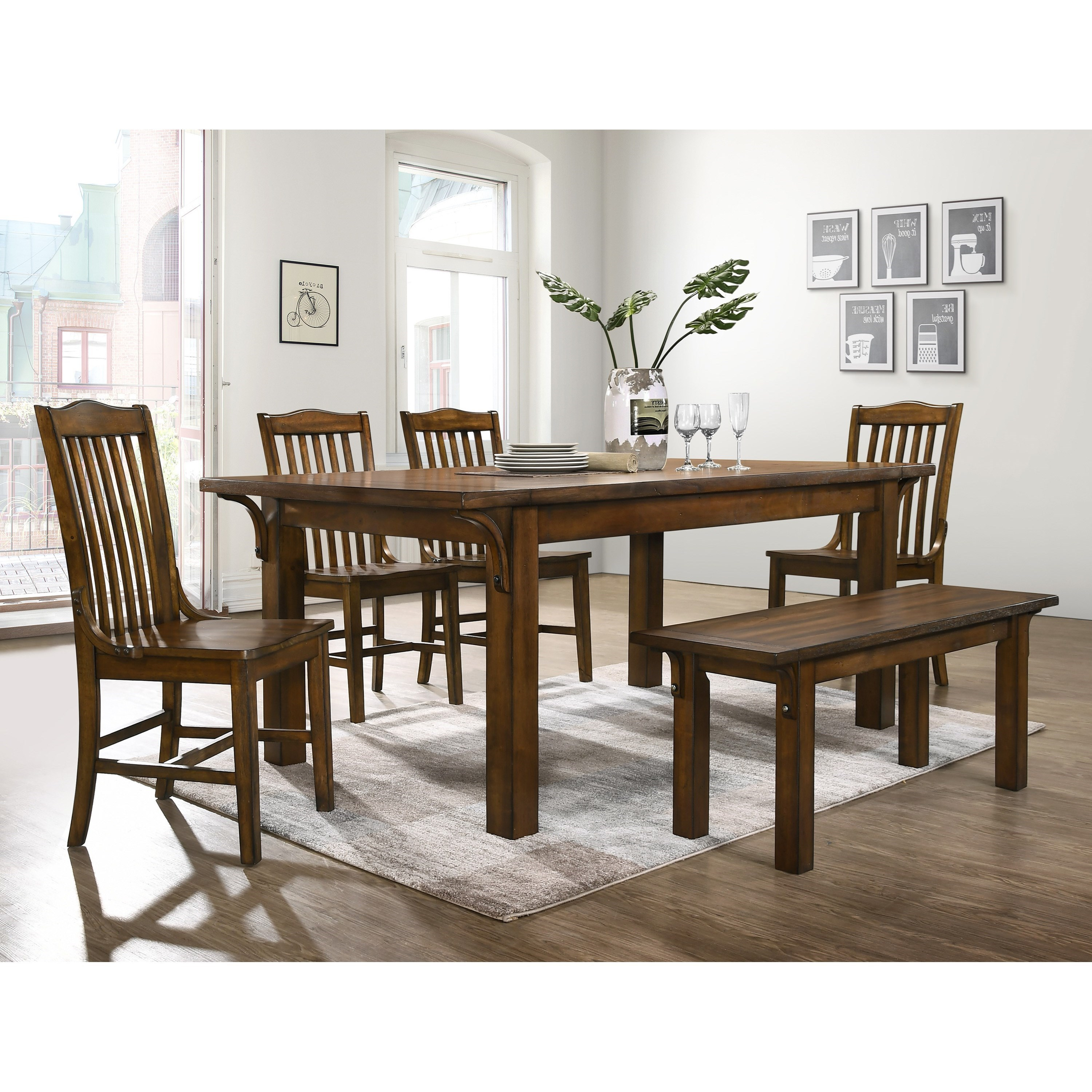 Crown mark lucille traditional six piece dining set with bench