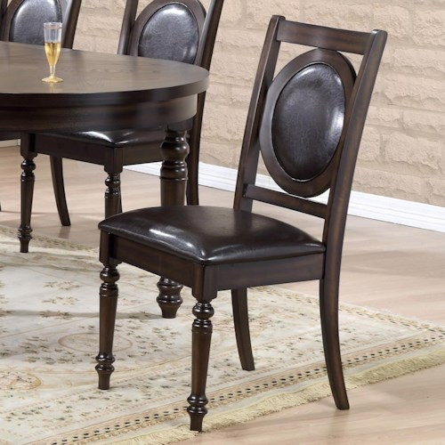 Crown Mark Lyla Side Chair with Upholstered Circle Design Backrest