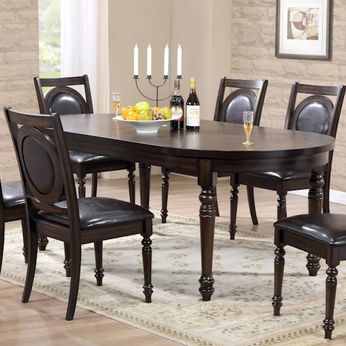 Crown Mark Lyla Dining Table with Leaf and Rounded Ends