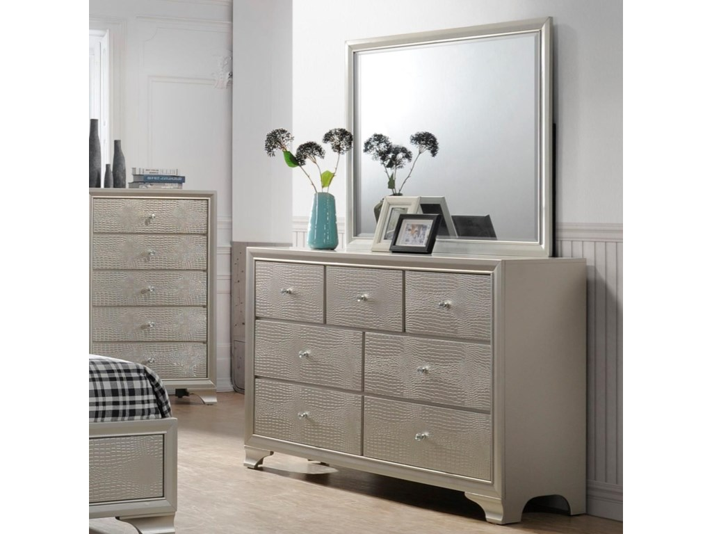 low priced 42e04 44713 Lyssa Glam Dresser and Mirror Set by Crown Mark at Household Furniture