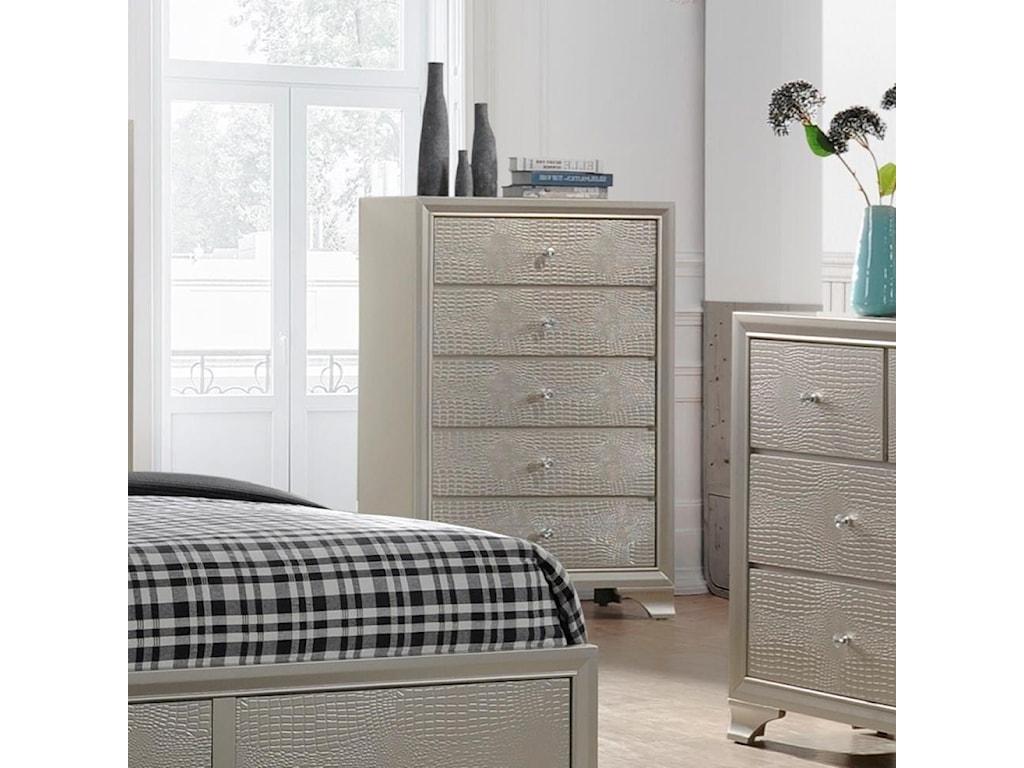 Crown mark lyssa b4300 4 glam five drawer chest dunk bright furniture drawer chests