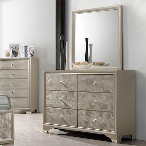 Crown Mark Lyssa Glam Dresser and Mirror Set
