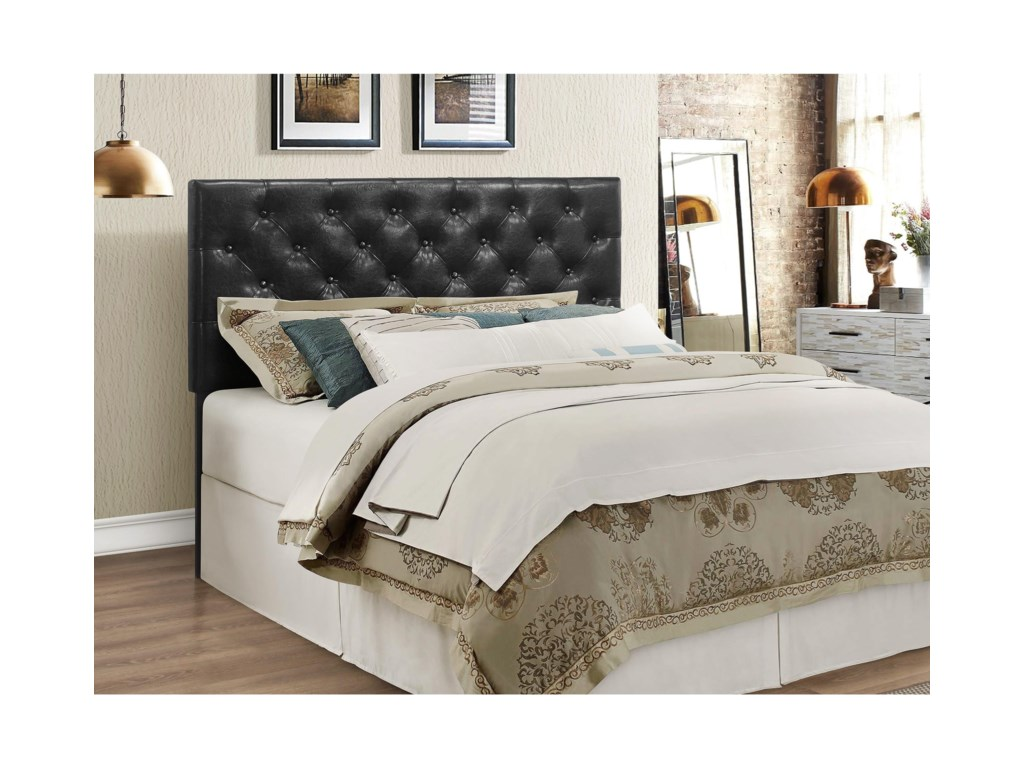 Crown mark mackenzie 5288bk fq hb full queen black upholstered headboard with button tufting household furniture headboards