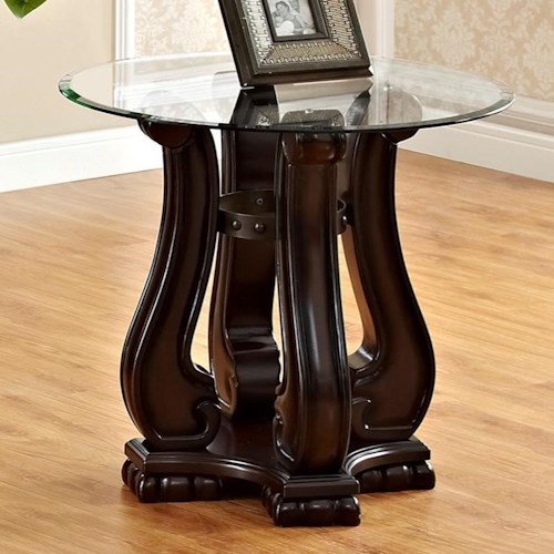 Crown Mark Madison Traditional End Table with Glass Top