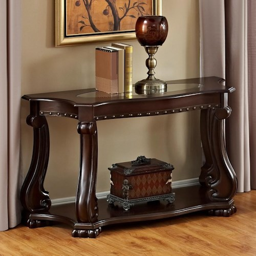 Crown Mark Madison Traditional Sofa Table With Gl Top