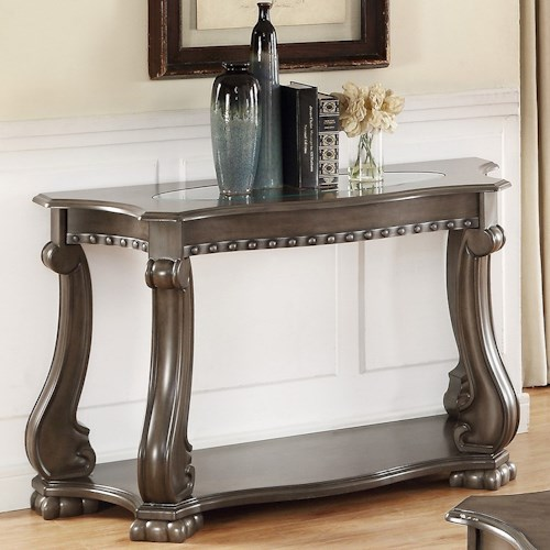 Crown Mark Madison Traditional Sofa Table with Glass Top
