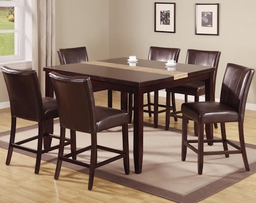Crown Mark Madrid & Ferrara 7 Piece Pub Table Set with Upholstered Counter Chairs