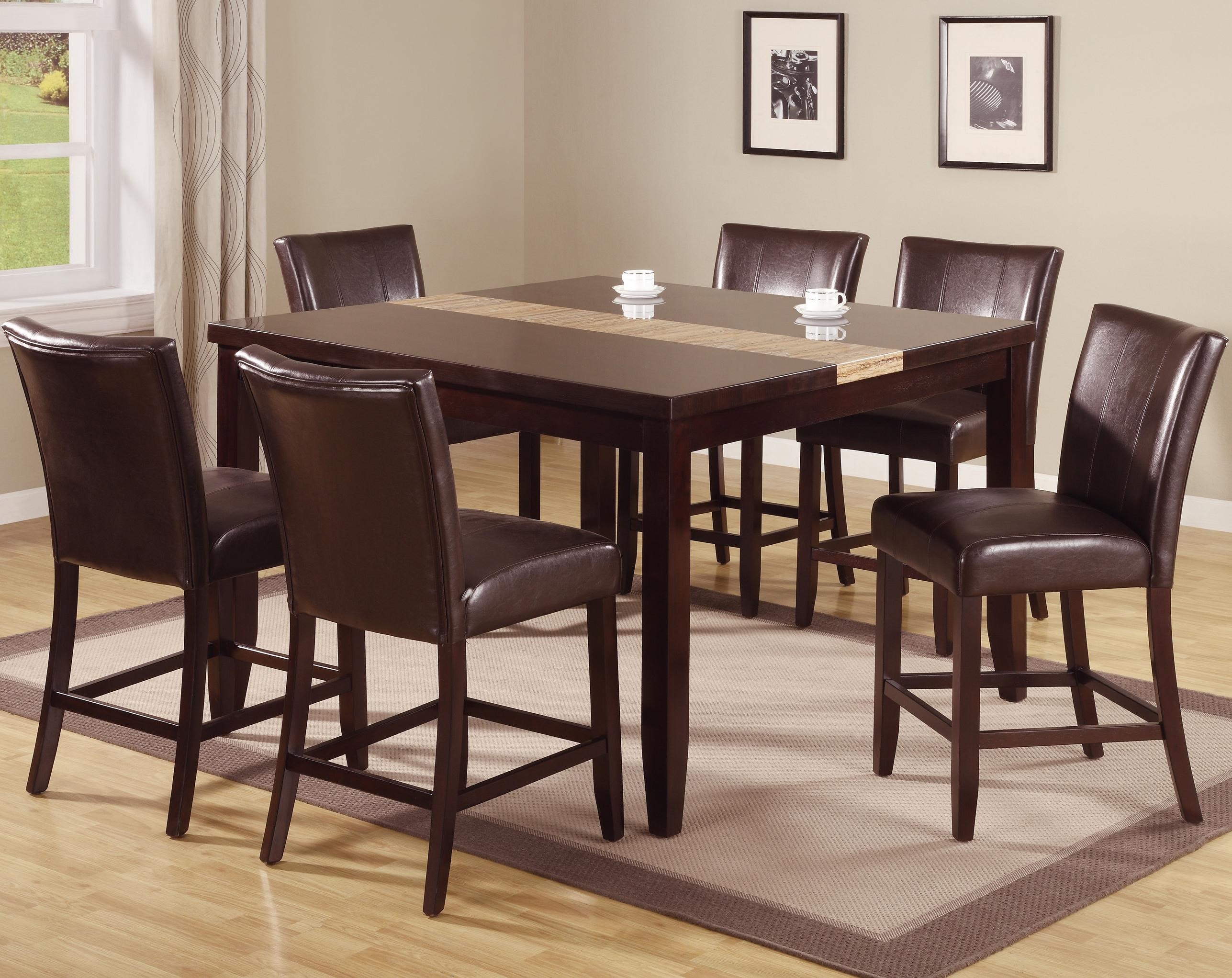Crown Mark Madrid U0026 Ferrara 7 Piece Pub Table Set With Upholstered Counter  Chairs