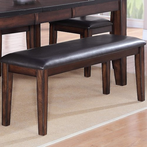 Crown Mark Maldives Rectangular Dining Bench with Faux Leather Cushion Seat