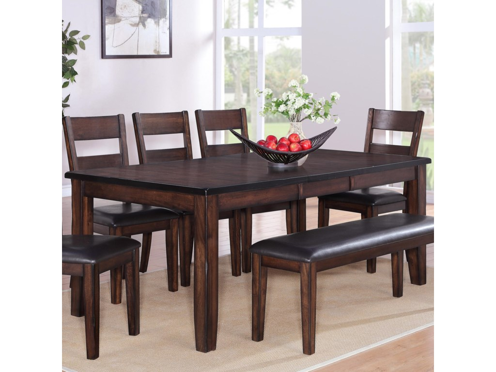 crown mark maldives rectangular dining table with 18 leaf old brick furniture dining room table - Old Brick Dining Room Sets