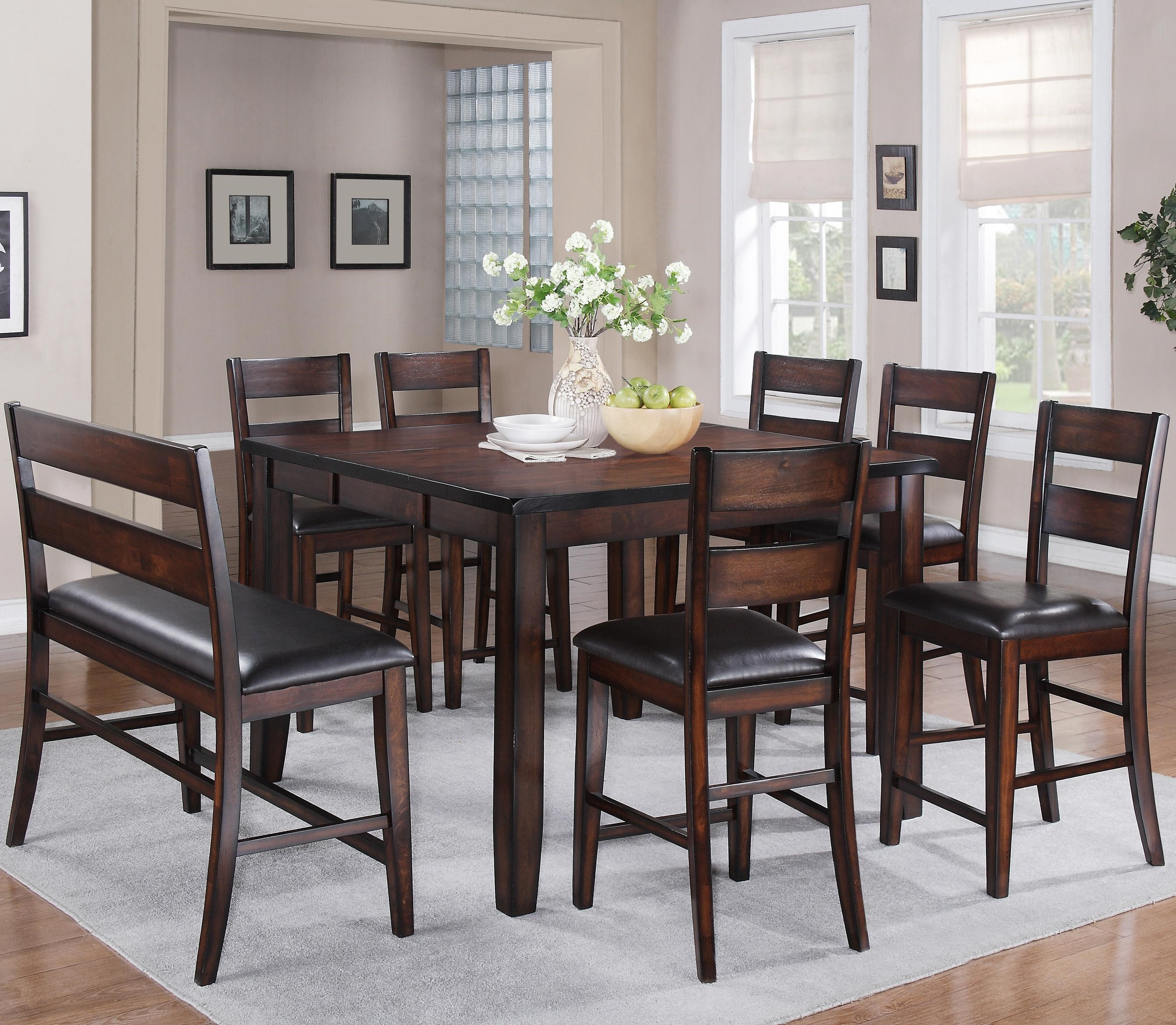 Crown Mark Maldives 8 Piece Counter Height Dining Set With Bench Royal Furniture Table Chair Set With Bench