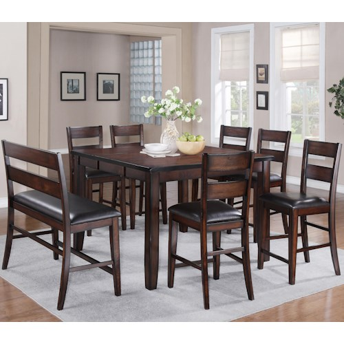 Crown Mark Maldives 8 Piece Counter Height Dining Set with Bench ...