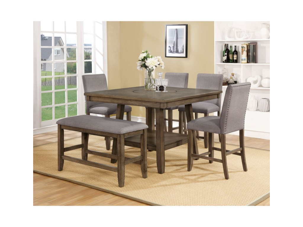 Crown Mark Manning 6 Pc Dining Group With Bench Royal Furniture