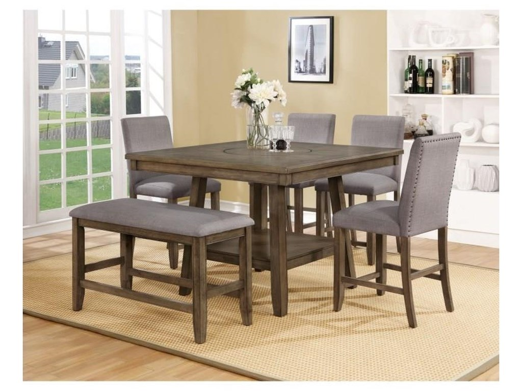 Crown Mark ManningCounter Height Table Set With Lazy Susan