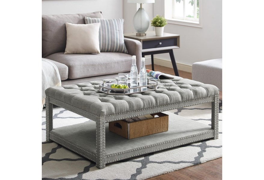 Crown Mark Mansfield 4250 Gy Grey Upholstered Cocktail Ottoman