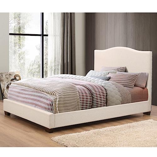 Crown Mark Mara Cream Upholstered Queen Bed