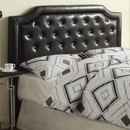 Crown Mark Maria Headboard Contemporary Full/Queen Upholstered Headboard with Tufting