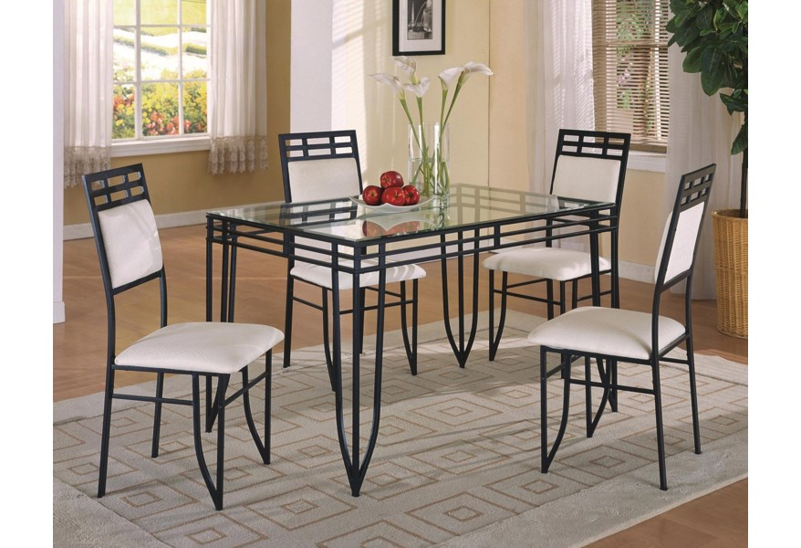 Matrix 5 Piece Dinette Table and Side Chairs Set by Crown Mark at Dunk &  Bright Furniture