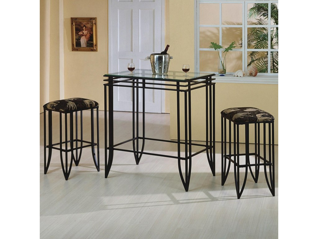 Crown Mark Matrix 1177SET-AN 3 Piece Glass Top Pub Table and Chairs ...