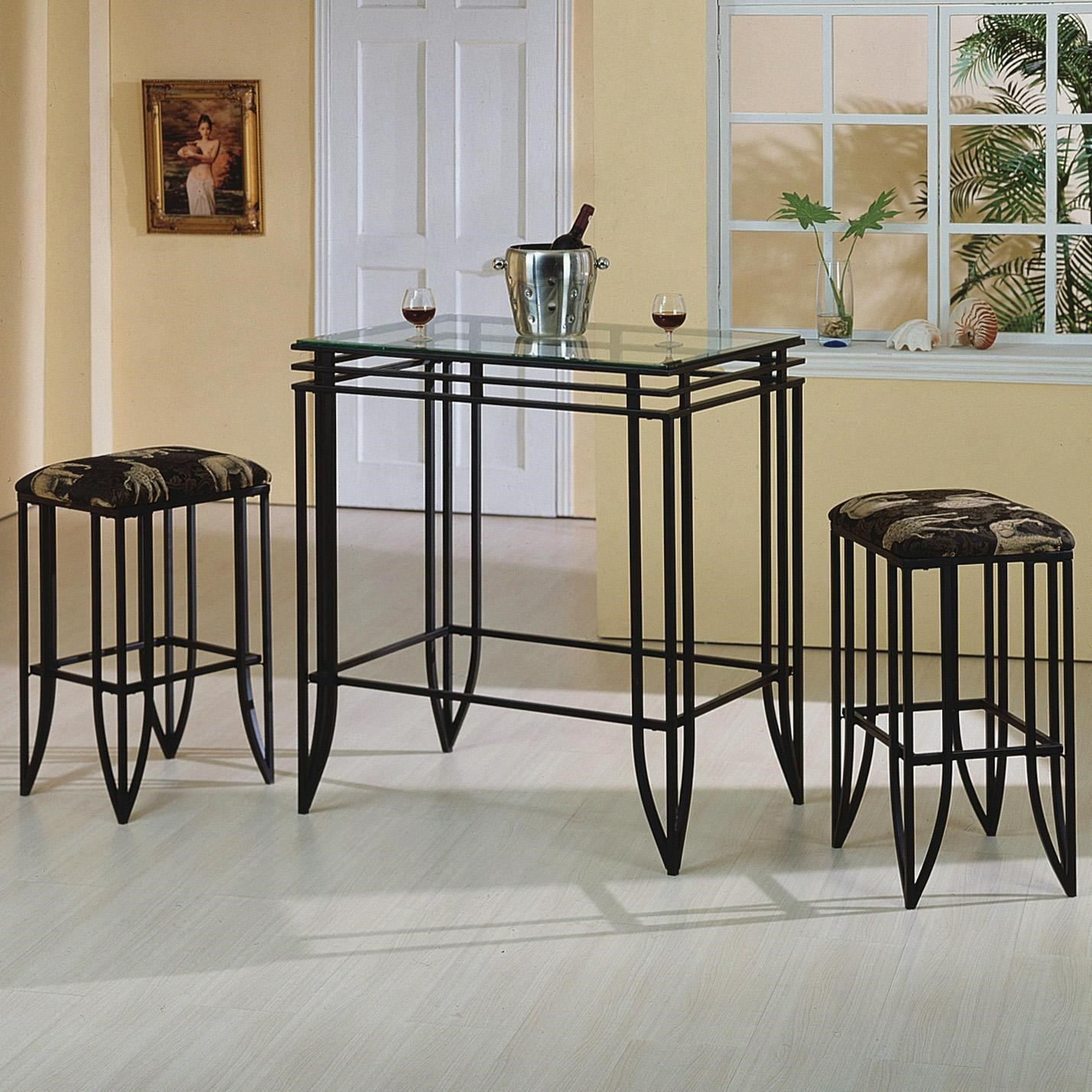 Matrix 3 Piece Glass Top Pub Table And Chairs Set By Crown Mark