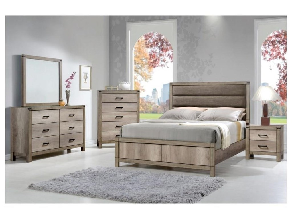 Crown Mark MatteoQueen UPH Low Profile Bed Package