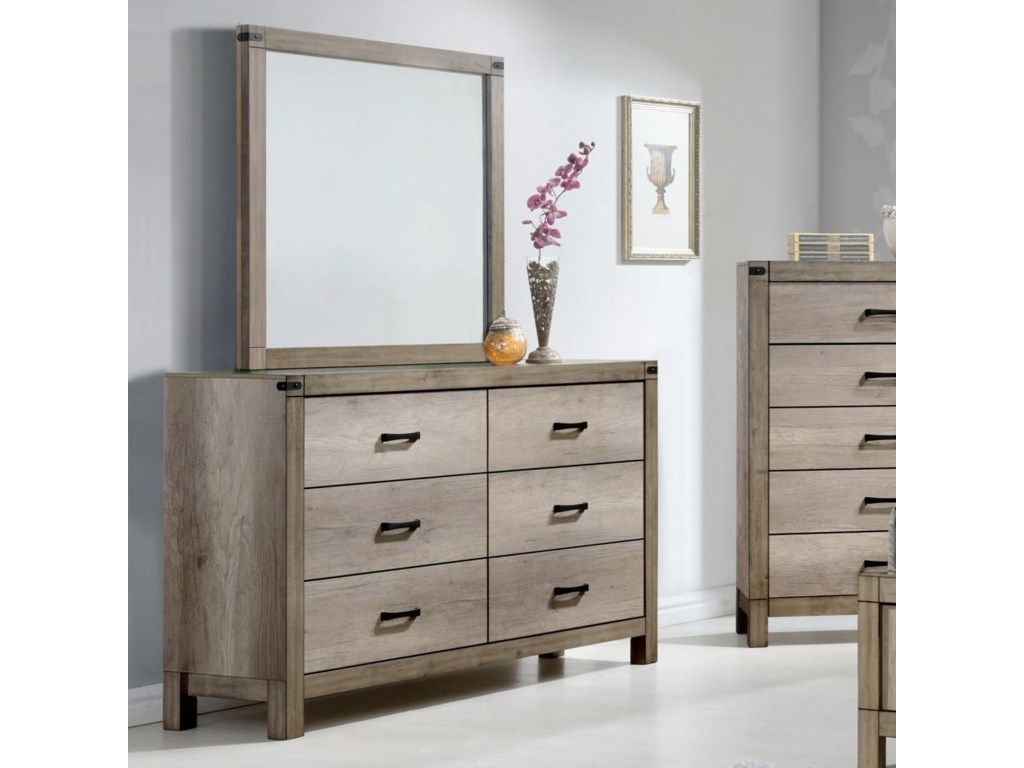 Crown Mark MatteoDresser and Mirror Set