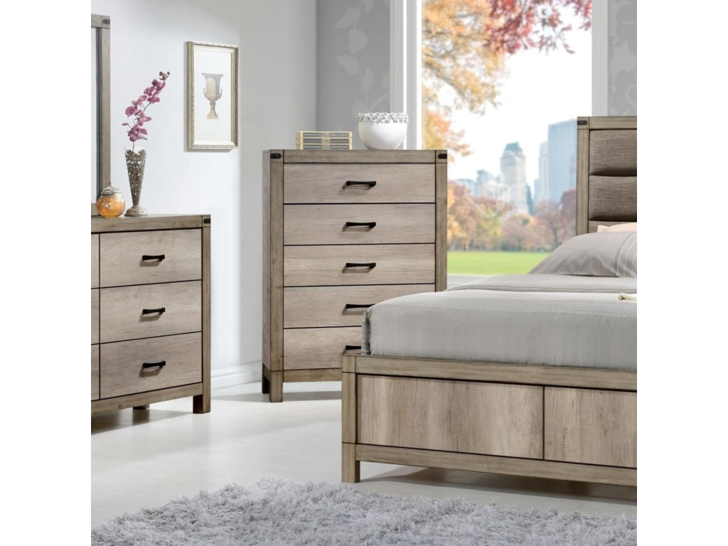 Matteo Contemporary Five Drawer Chest by Crown Mark at Wayside Furniture