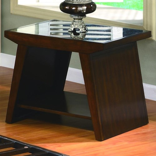 Crown Mark Midori Contemporary End Table with Glass Top