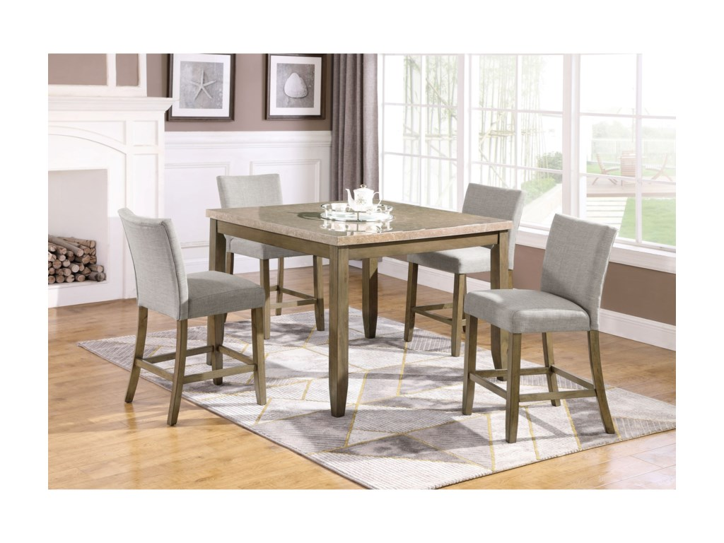 Crown Mark Mike5 Piece Counter Height Table and Chair Set