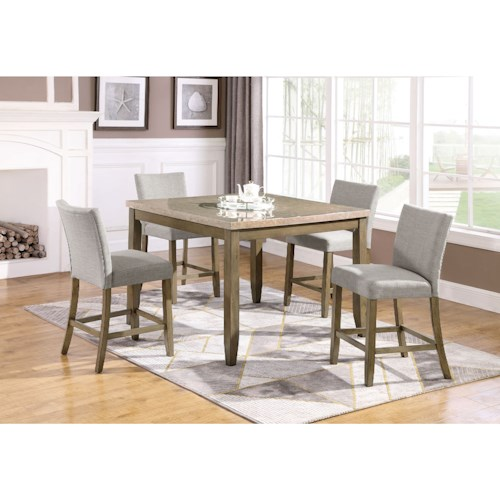 Crown Mark Mike 5 Piece Faux Marble Counter Height Table and Upholstered Chair Set