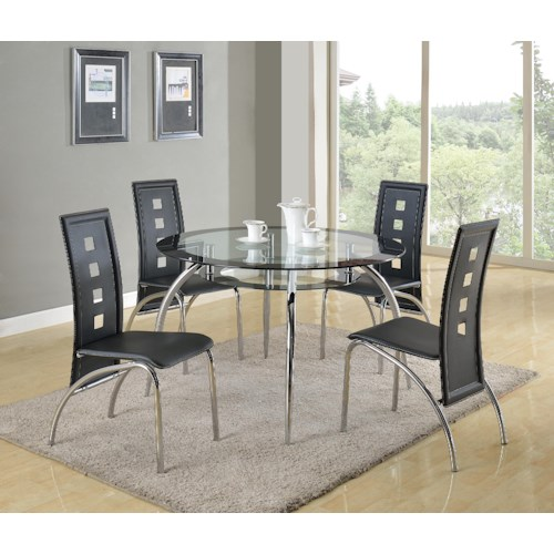 Crown Mark Mila 5 Piece Round Glass Table and Modern Side Chair Set