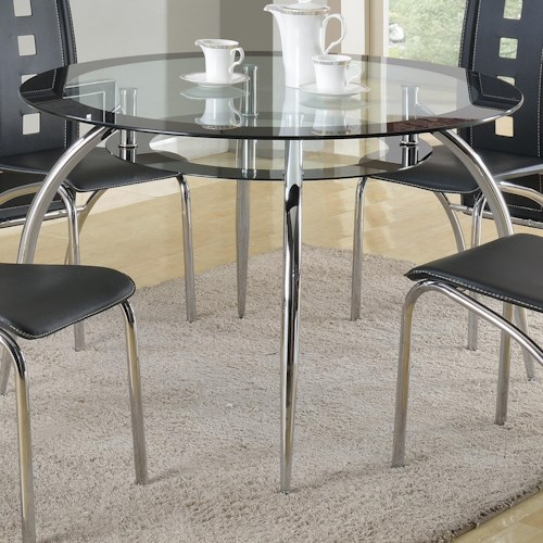 Crown Mark Mila Round Glass Dining Table with Suspended Platform Under Table Top