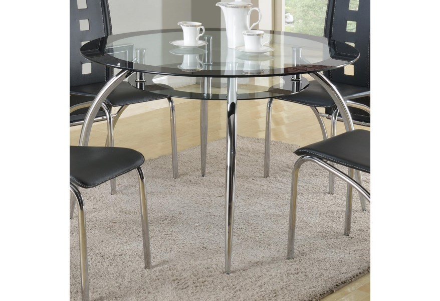 Mila Round Gl Dining Table With Suspended Platform Under Top By Crown Mark At Dunk Bright Furniture
