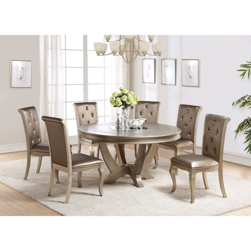 Crown Mark Mina Golden Hued Round Table and Chair Set