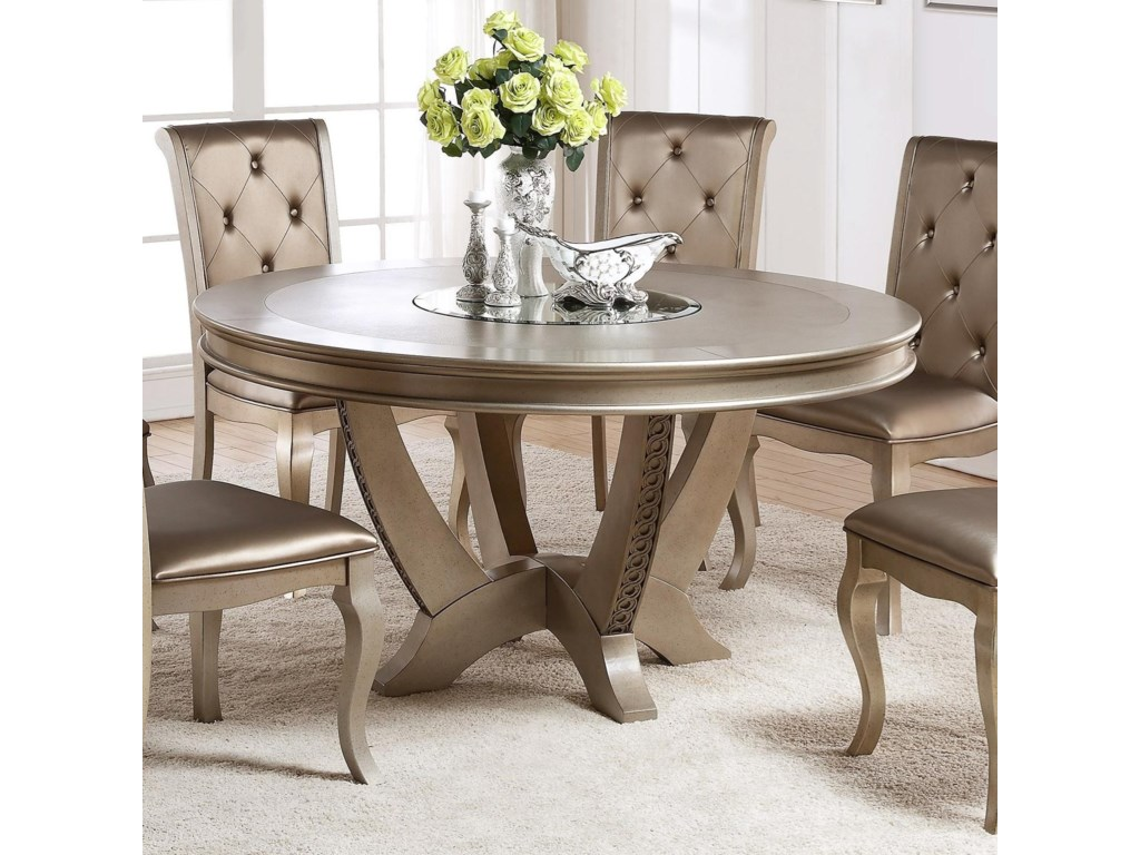 Mina Golden Round Table With Lazy Susan By Crown Mark At Royal Furniture