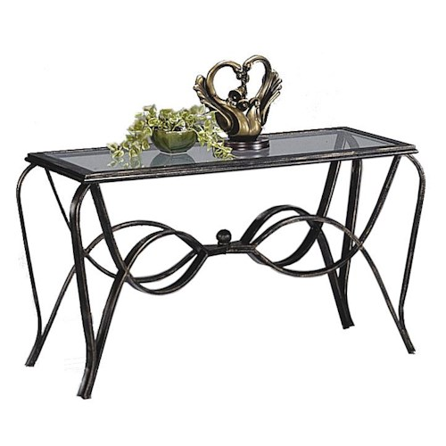 Crown Mark Monarch  Sofa Table with Glass Top