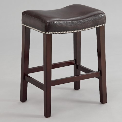 Crown Mark Nadia 24 Inch Script Saddle Stool with Nail Head Trim