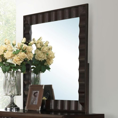 Crown Mark Nadine Mirror with Concave Pattern Frame