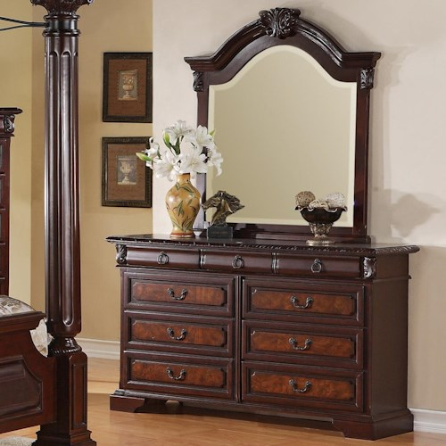 Crown Mark Neo Renaissance Rectangular Dresser & Curved Mirror Set