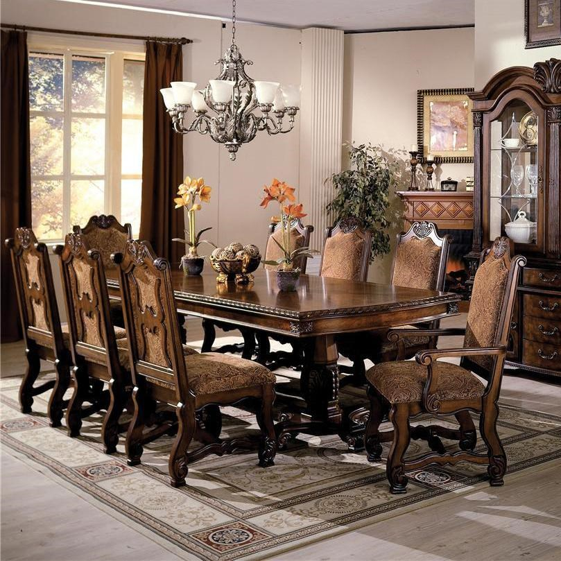 Crown Mark Neo Renaissance Double Pedestal Dining Table and Chairs with Traditional Upholstered Seats & Crown Mark Neo Renaissance Double Pedestal Dining Table and Chairs ...