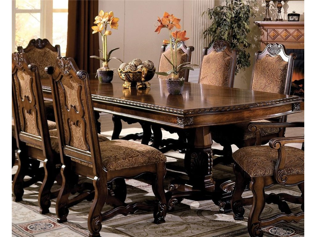 Neo Renaissance Double Pedestal Dining Table with Two 18 Inch Leaves by  Crown Mark at Household Furniture