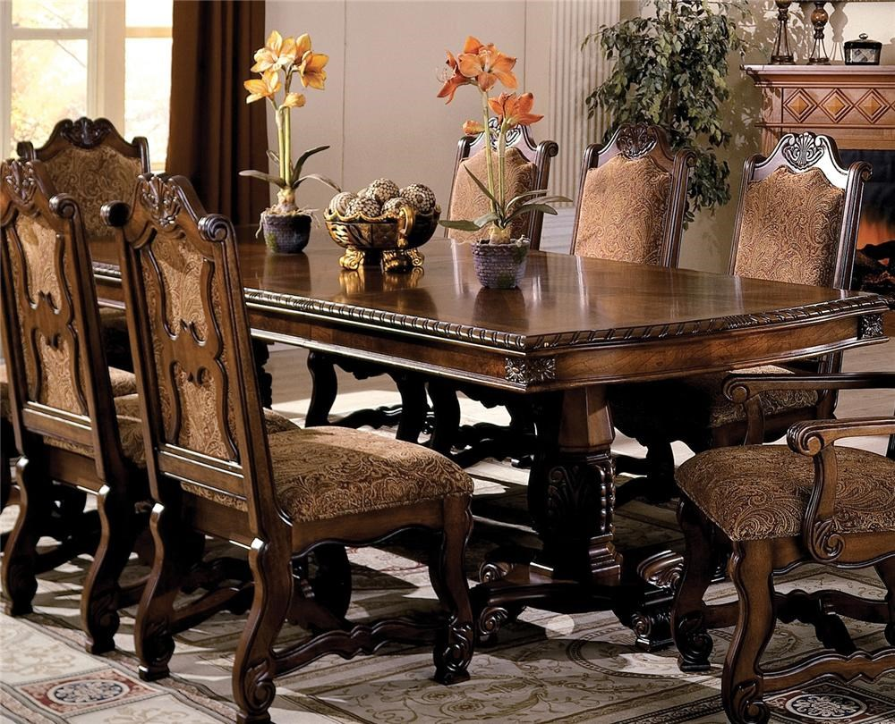 Crown Mark Neo Renaissance Double Pedestal Dining Table With Two 18 Inch  Leaves