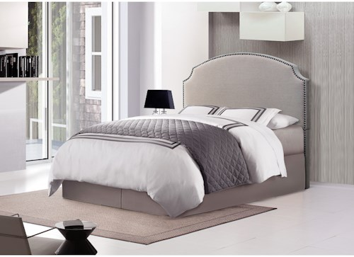 Crown Mark Odette Queen Upholstered Bed with Nailhead Trim