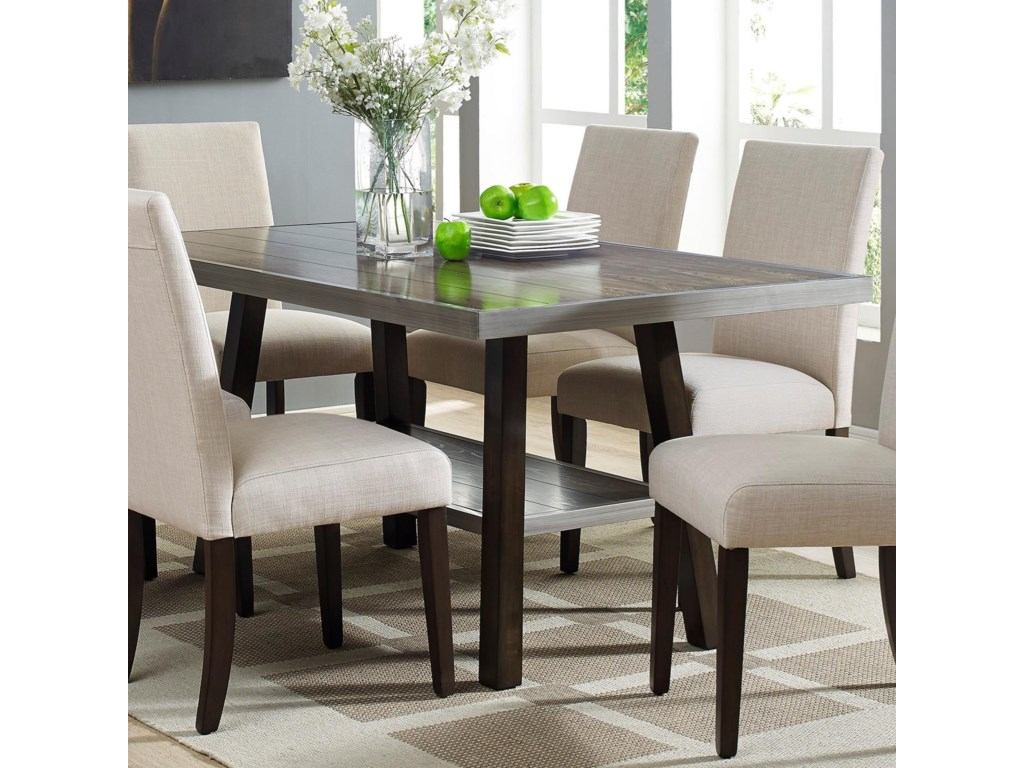 Crown Mark Olsen 2032t 3864 Transitional Dining Table With Shelf Household Furniture Tables